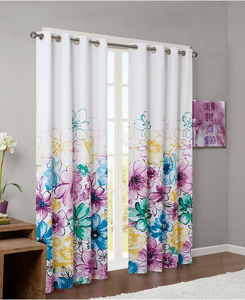 "Intelligent Design Olivia Floral-Print 50"" x 84"" Blackout Grommet Window Panel"