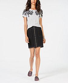 I.N.C. Crew-Neck Appliqué T-Shirt & Zip-Front Mini Skirt, Created for Macy's