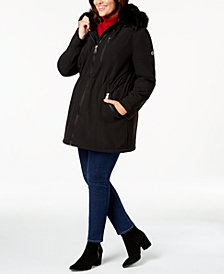 Calvin Klein Plus Size Faux-Fur-Trim Hooded Anorak