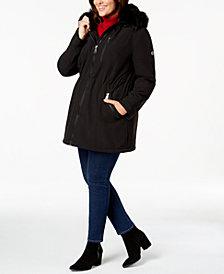Calvin Klein Plus Size Faux-Fur-Trim Hooded Anorak