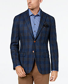 Tallia Men's Big & Tall Slim-Fit Blue Plaid Sport Coat