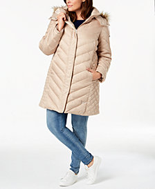 Kenneth Cole Plus Size Faux-Fur-Trim Quilted-Panel Puffer Coat