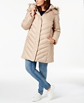 c6b9888a24 Kenneth Cole Plus Size Faux-Fur-Trim Quilted-Panel Puffer Coat