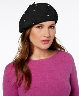 Bedazzled Felt Beret - Black, Black/ Smoke