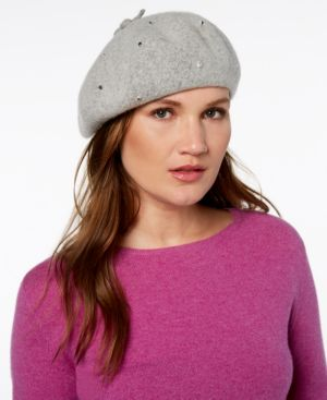 Bedazzled Felt Beret - Grey, Heather Grey/ Clear