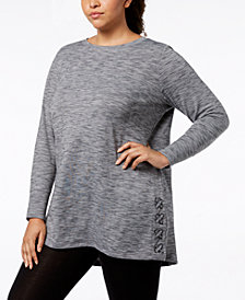 Ideology Plus Size Space-Dyed Crisscross-Side Tunic, Created for Macy's