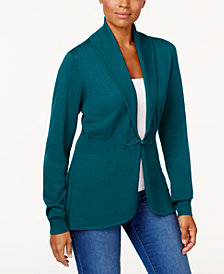 Karen Scott Long-Sleeve Clasp Cardigan, Created for Macy's