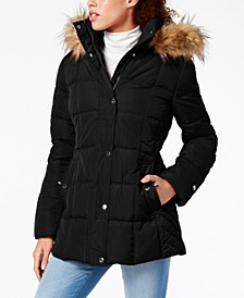 Faux-Fur Trim Hooded Puffer Coat, Created for Macy's