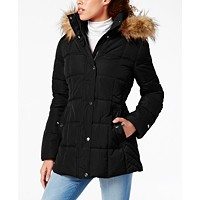 Deals on Tommy Hilfiger Womens Hooded Faux-Fur-Trim Puffer Coat
