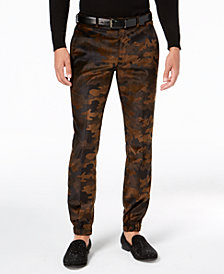 Tallia Men's Slim-Fit Brown Camouflage Velvet Suit Pants