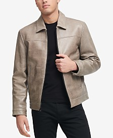 DKNY Men's Leather Croc Jacket, Created for Macy's