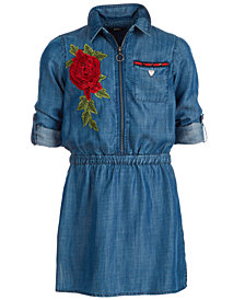 GUESS Big Girls Embroidered Denim Shirtdress