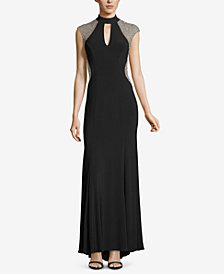 XSCAPE Embellished Choker Gown