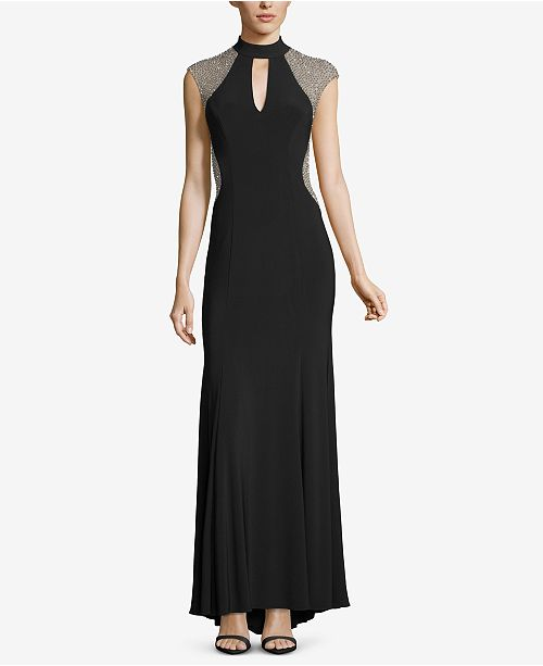 XSCAPE Black Choker Gown Embellished Silver Nude rUrazq