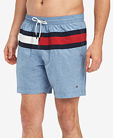 "Tommy Hilfiger Men's Blue Water 5.5"" Swim Trunks, Created for Macy's"