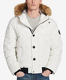 Men's Big & Tall Parka with Faux-Fur Trimmed Hood
