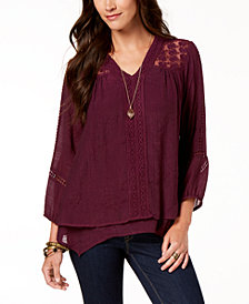 Style & Co Petite Layered-Hem Crochet Woven Top, Created for Macy's