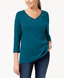 Karen Scott 3/4-Sleeve Cotton Grommet-Detail Top, Created for Macy's