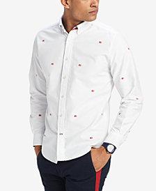 Tommy Hilfiger Men's Embroidered Flag Custom Fit Shirt, Created for Macy's