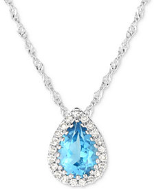 "Blue Topaz (3/4 ct. t.w.) & Diamond Accent 18"" Pendant Necklace in 14k White Gold"