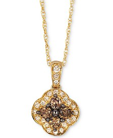 "Le Vian Chocolatier® Diamond 18"" Pendant Necklace (1/3 ct. t.w.) in 14k Gold"