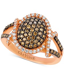 Chocolatier® Diamond Oval Cluster Ring (1 ct. t.w.) in 14k Rose Gold