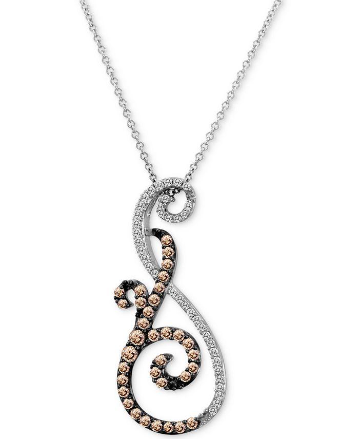 """Le Vian - Diamond Swirl 18"""" Pendant Necklace (5/8 ct. t.w.) in 14k White Gold"""
