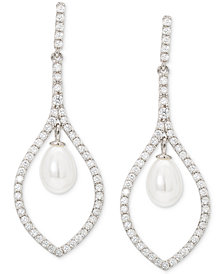 Giani Bernini Imitation Pearl & Cubic Zirconia Drop Earrings in Sterling Silver, Created for Macy's