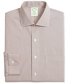 Brooks Brothers Men's Milano Extra-Slim Fit Non-Iron Stretch Broadcloth Yellow & Blue Gingham Dress Shirt