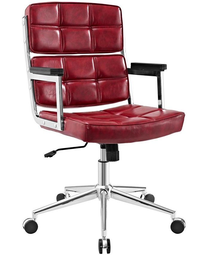 Modway - Portray Highback Upholstered Vinyl Office Chair in White