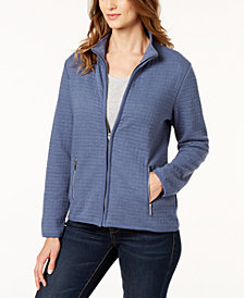 Karen Scott Petite Quilted Fleece Zip-Up Jacket, Created for Macy's