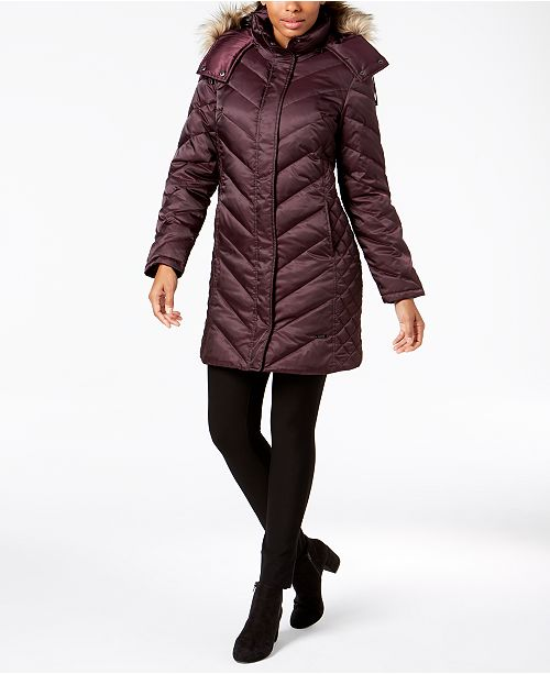 7c3436a2651b Kenneth Cole Hooded Faux-Fur-Trim Down Chevron Puffer Coat & Reviews ...