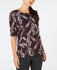 Alfani Print Ruched-Sleeve T-Shirt, Created for Macy's