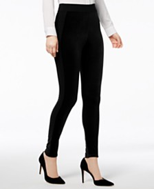 I.N.C. Shaping Mixed-Media Velvet Leggings, Created for Macy's