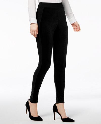 I.N.C. Shaping Mixed-Media Velvet Leggings, Created for Macy's