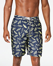 "Trunks Surf & Swim Co. Men's 8"" Americana Fish-Print Swim Trunks"
