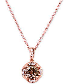 "Le Vian Chocolatier® Diamond 18"" Pendant Necklace (3/4 ct. t.w.) in 14k Rose Gold"