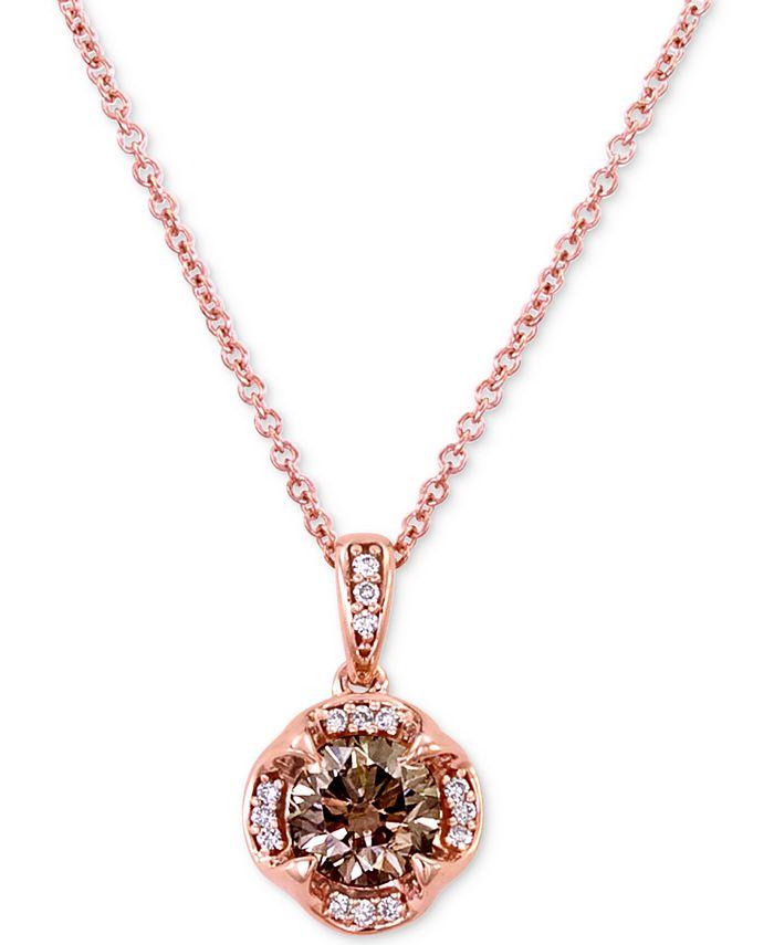 "Le Vian - Diamond 18"" Pendant Necklace (3/4 ct. t.w.) in 14k Rose Gold"