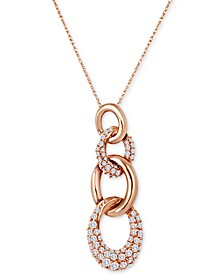 "Chocolatier® Diamond Interlocking Link 18"" Pendant Necklace (7/8 ct. t.w.) in 14k Rose Gold"
