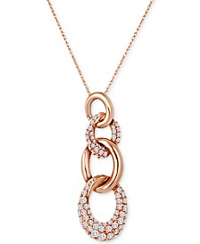 "Le Vian Chocolatier® Diamond Interlocking Link 18"" Pendant Necklace (7/8 ct. t.w.) in 14k Rose Gold"