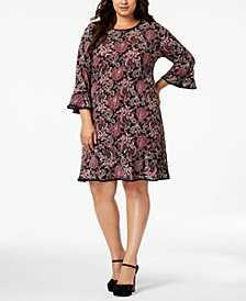 MICHAEL Michael Kors Plus Size Printed Flare-Sleeve Dress