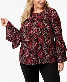 MICHAEL Michael Kors Plus Size Printed Tiered-Sleeve Top