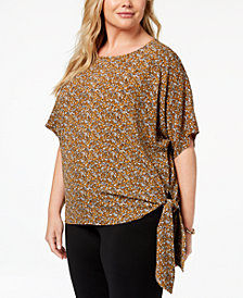 MICHAEL Michael Kors Plus Size Printed Crepe Side-Tie Top