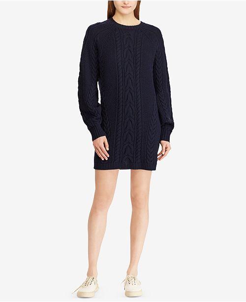 8d3cdcdd1 Polo Ralph Lauren Aran-Knit Wool Sweater Dress   Reviews - Dresses ...