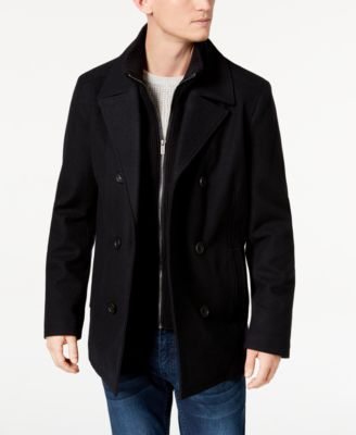 Kenneth Cole New York Mens Wool-Blend Coat with Front-Zip Bib