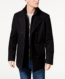 Kenneth Cole Men's Big & Tall Double Breasted Wool Peacoat with Bib
