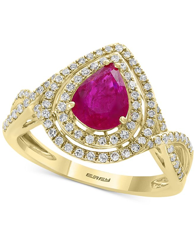 EFFY Collection EFFY® Certified Ruby (9/10 ct. t.w.) and Diamond (1/3 ct. t.w.) Statement Ring in 14k Gold