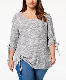 Style & Co Plus Size Space-Dyed Tie-Sleeve Top, Created for Macy's