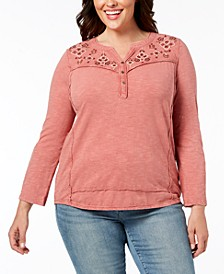 Plus Size Cotton Embroidered Split-Neck Top, Created for Macy's