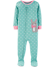 Carter's Baby Girl Bunny Footed Cotton Pajamas